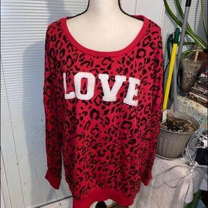 Torrid size 4X Red/Black animal print Sweat shirt